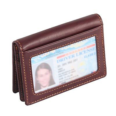 RFID Blocking Slim Genuine Leather Credit Card holder  Wallet (Brown)