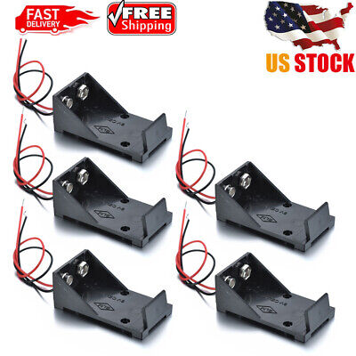 US  5Pc DC 9V Cell Volt Battery Storage Clip Holder Box Case Cover + 2Wires