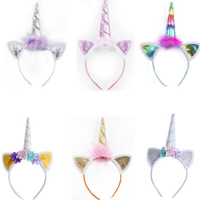 US Unicorn Horn Head Party Adult Kids Hair Headband Fancy Dress Cosplay Decor