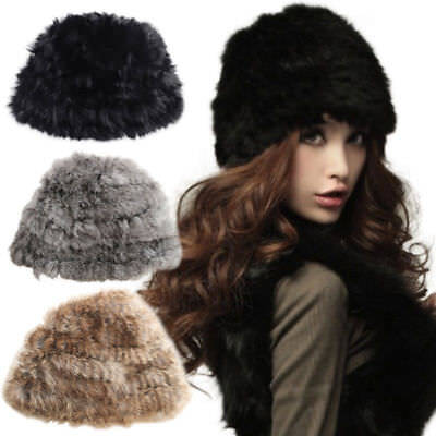 Women Winter Real Rabbit Fur Knitted Cap Fluffy Soft Warm Beanie Russian Ski Hat