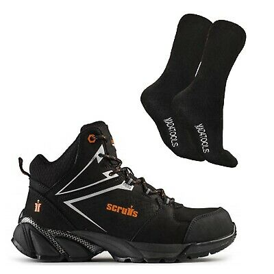 Scruffs VICTORY Safety Hiker Work Boots Black (7-12) & 1 Pair of Socks