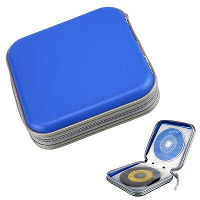 Blue CD/DVD 40 Disc Disk Case Sleeve Wallet Holder Storage Portable Plastic Bag