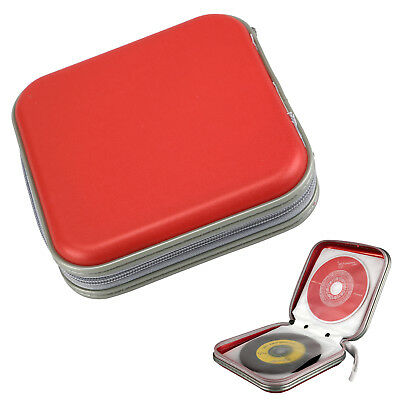 Red CD/DVD 40 Disc Disk Case Sleeve Wallet Holder Storage Portable Plastic Bag