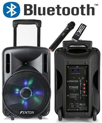 "Cassa Amplificata Attiva 450W 10"" Bluetooth + Trolley + Batterie + Usb/sd + Mic"