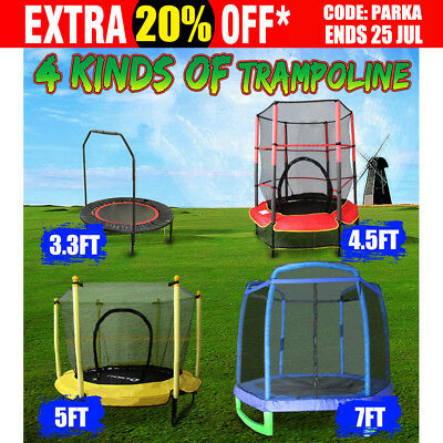 New Mini Trampoline 40'' 4.5FT 5FT 7FT Safety Net Handrail Cardio Fitness 2018
