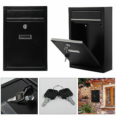 Black Mailbox Wall Mounted Steel Mail Box Letterbox Lockable Letter Postbox