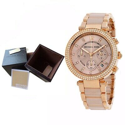 9782e9ec0406 100% New Michael Kors MK5896 Parker Rose Gold-Tone Blush Acetate Women Watch