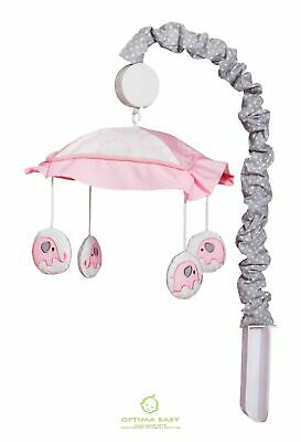OptimaBaby Pink Grey Gray Elephant Musical Mobile