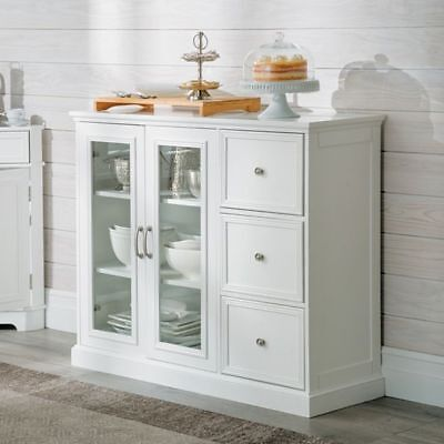 Contemporary Living Clic White Sideboard Buffet Cabinet Storage Cupboard