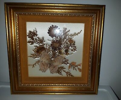 Vtg FRAMED dried flower collage butterfly MILDRED ROBERTS Salvia MUM picture