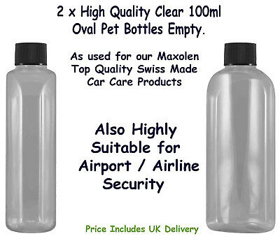 Bottles 100ml Clear PET Oval Empty with  Screw Caps x 2 Airport Airline Security