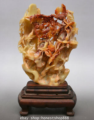 """11"""" Chinese Natural Shoushan Stone Carved Bamboo Flower Two Bird Statue Decor"""