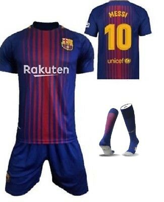 17/18 Football Soccer Kids Kit For MESSI 10 Jersey Short Sports Sleeve 3-13th