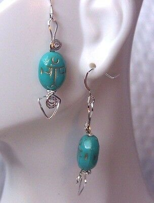 EGYPTIAN Scarab Beetle Earrings Turquoise Sterling Silver Wire Wrap Handmade