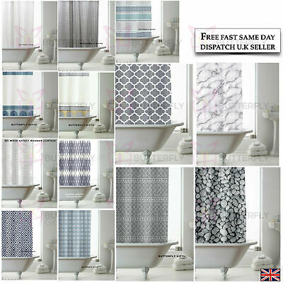 New Modern Designer PEVA Bathroom Shower Curtain with 12 Hooks 180cm x 180cm