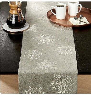 Crate Barrel Snowflake Table Runner 14 X 120 Silvergray Wool Felt