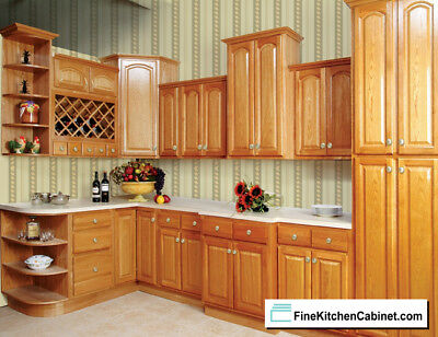 All Wood RTA 10x10 Country Oak Ready To Assemble Kitchen Cabinets
