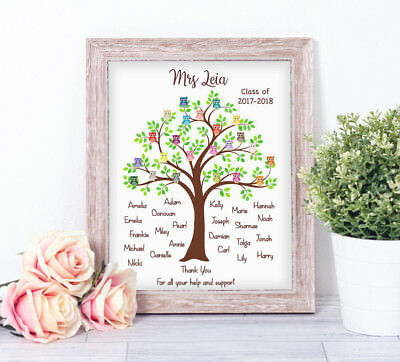 Personalised Owls In Tree Word Art Print Typography End of Term Teacher  Gift