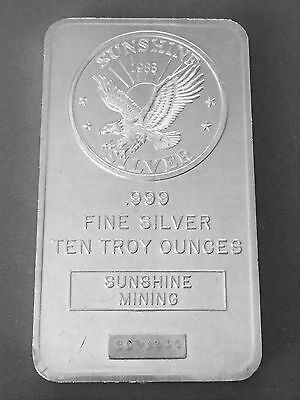 1985 Sunshine Mining 10 Troy oz .999 Fine Silver Art Bar #CO70286