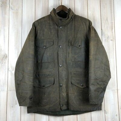 Vintage Barbour Sapper A342 Men's Green Wax Waxed Army Style Jacket Coat L