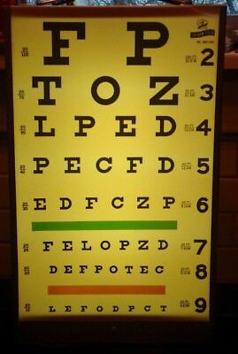 Vintage Graham - Field Visual Acuity Eye Chart Cabinet w/ Light Vision Test