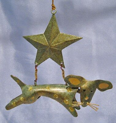 Celestial Dog Hanging from a Star Christmas Ornament New