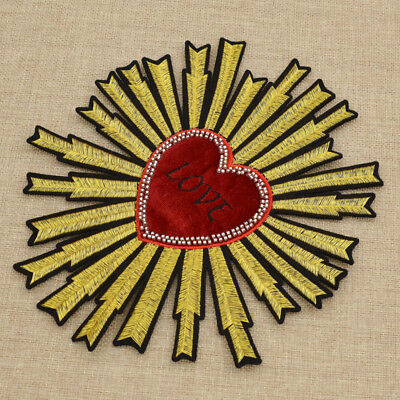 Large Sunflower Patch Heart Embroider  DIY Sew On Fashion Applique Clothes Deco