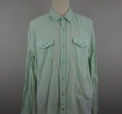 VTG GUESS Men's XXL Shirt Linen Cotton Western Slim Fit Pearl Snap
