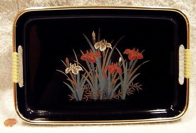 1950's Vintage Black Two Handled Metal Floral Designed Serving Tray +Bonus!