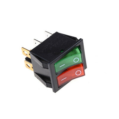 Red Green Light 6Pins Double SPST On/Off Boat Switch 16A 250V AC 20A 125V AC Gy