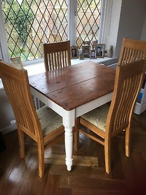 Victorian scrub top  plank top kitchen table  Painted in chalky white renovated