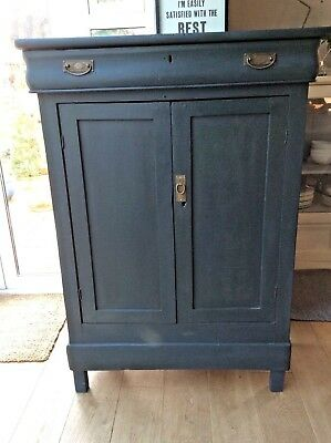 Antique French Louis XIV style tall cupboard hand painted Railings Farrow & Ball