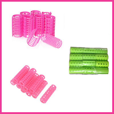 Plastic Hair Rollers Curlers Pink Green Small Medium Large Jumbo 20mm-55mm