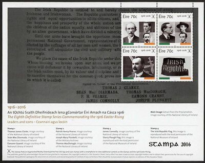 Ireland - Overprinted 1916 Rising Centenary Exhibition Sheet for Stampa 2016