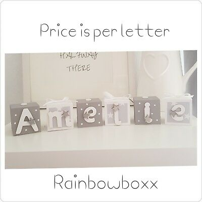 ☆Wooden hand painted personalised grey & white name blocks/cubes. Nursery decor☆