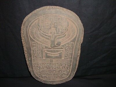 Rare Antique Ancient Egyptian Stela Goddess Isis Winged Health 1840-1740 BC