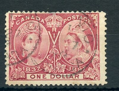 Weeda Canada 61 F used $1 lake Jubilee issue, small thins at top CV $600