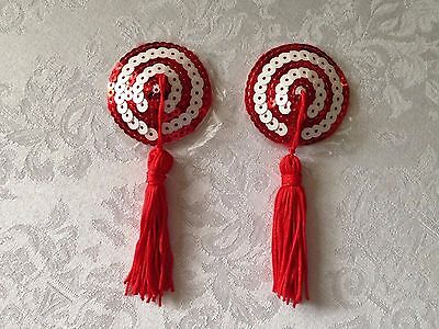Pair of Red & White Swirl Round Sequin Pasties with Tassels-Dancewear-Lingerie