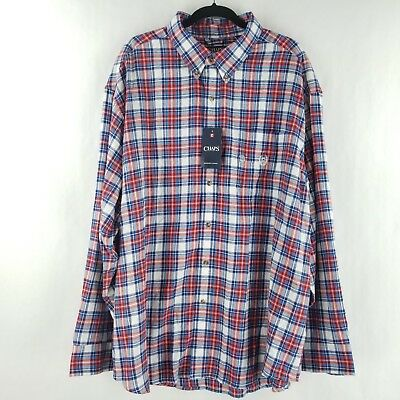 NWT NEW mens white blue red plaid CHAPS brushed flannel shirt free shipping