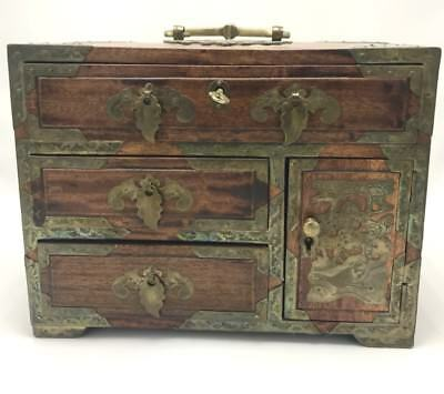 LARGE EARLY 20th C ROSEWOOD CHINESE WOOD AND BRASS JEWELRY BOX