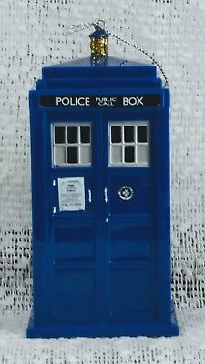 "Doctor Who Tardis Blow Mold Plastic Ornament, Kurt Adler 4.5"", Collectible, New"