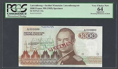 Luxembourg 1000 Francs ND(1985) P59s Specimen Uncirculated