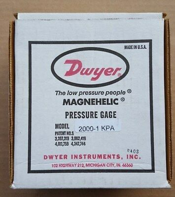 Dwyer Magnehelic 2000-1 kPa Differential pressure gauge NEW IN BOX