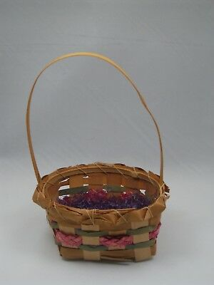 Vintage Easter 40s Basket Purple Grass Wicker Woven Fancy Edge Child Size