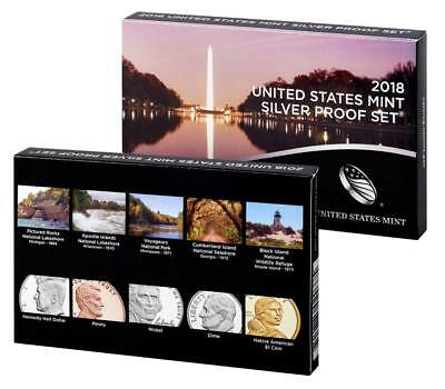 2018 s US Mint silver proof set 10 coin deep cameo complete with box and coa