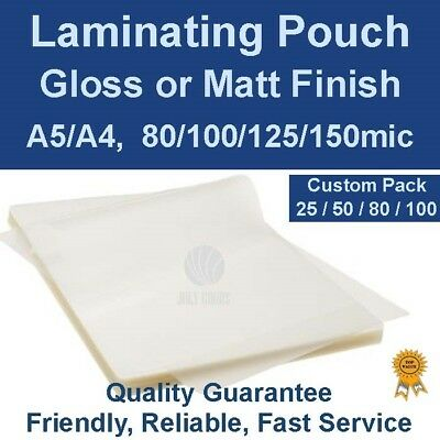 Custom Pack Quality laminating Pouches Gloss or Matt A5/A4, 80/100/125/150mic