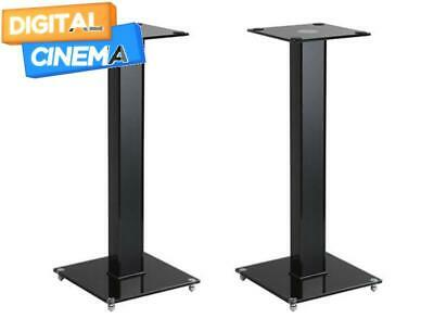 Premium Medium Speaker Stands Pair with Cable Management and Tempered Glass Base