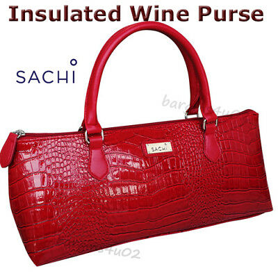 Sachi Wine Bottle Insulated Cooler Bag Tote Carrier Purse Handbag Crocodile Red