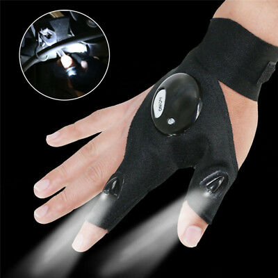 Car Motorcycle Repair Glove Night 2 LED Flashlight Torch Cover Survival Tools DY