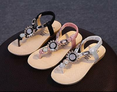 Summer Children Beach Sandals Rhinestone Kids Flip Flops Casual Flat Girls Shoes